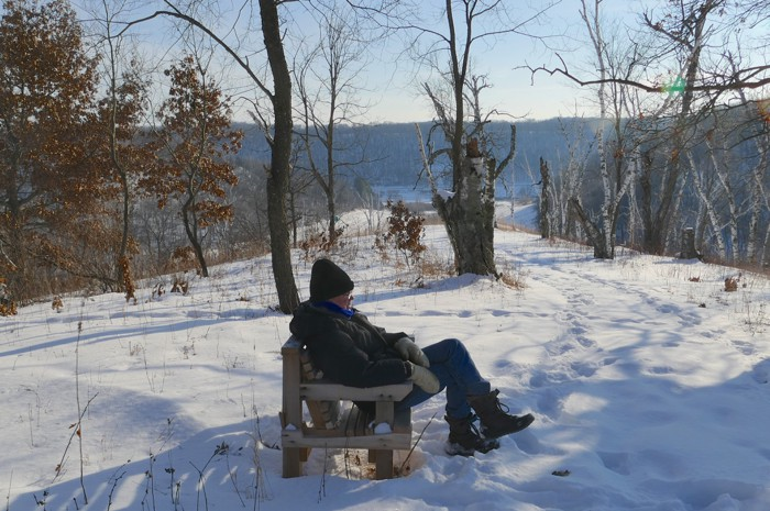 mike on indian grass bench